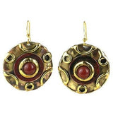 Carnelian Disk Brass Earrings Handmade and Fair Trade