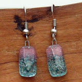Pink and Blue Bubble Small Glass Earrings Handmade and Fair Trade