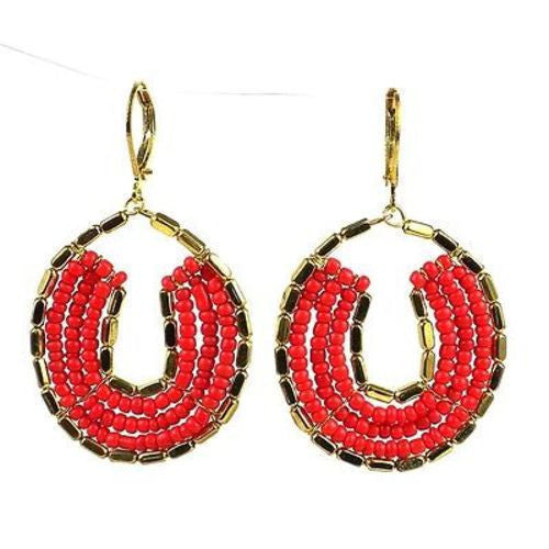 Byzantine Earrings in Red and Gold Handmade and Fair Trade