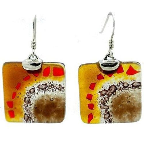 Golden Earth Translucent Square Glass Sterling Silver Earrings Handmade and Fair Trade