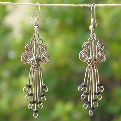 Silverplated Legacy Earrings with Black Beads Handmade and Fair Trade