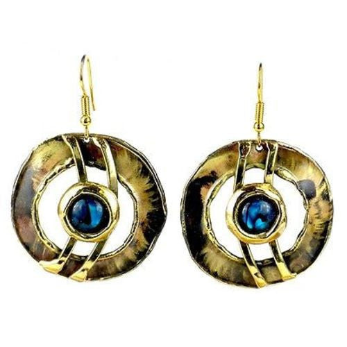 Paua Shell Ripple Effect Brass Earrings Handmade and Fair Trade