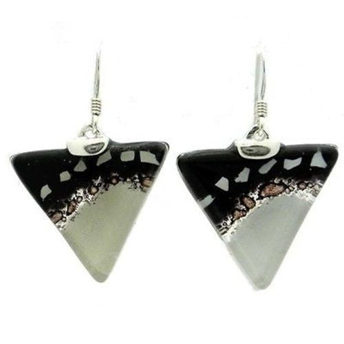 Black and White Flecks Translucent Triangle Glass Sterling Silver Earrings Handmade and Fair Trade