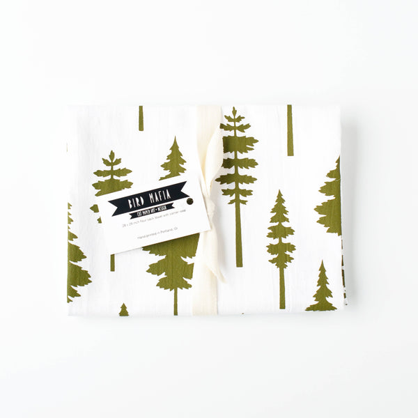 Conifers Flour Sack Towel • Bird Mafia