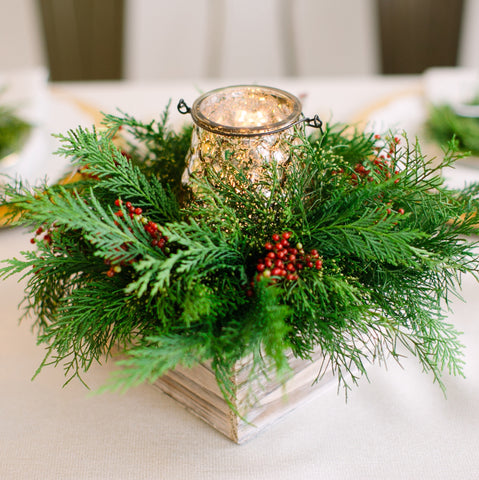 Winter Greens Hurricane | Centerpiece