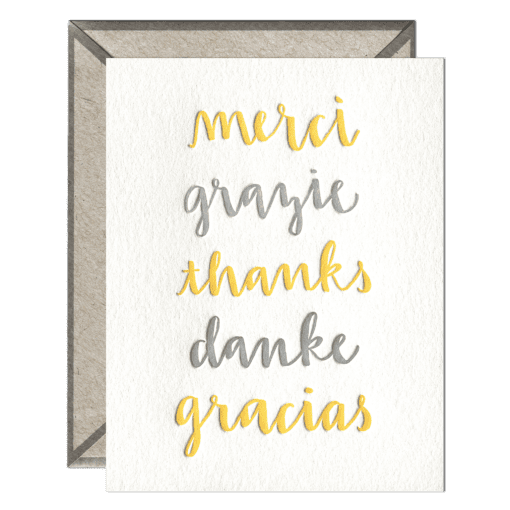 Thank You Languages | Letterpress Card