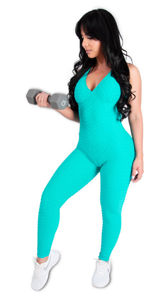 Turquoise Brazilian Jumpsuit Scrunchy Supplex