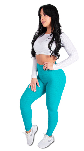Turquoise Scrunchy Supplex High Waist Legging