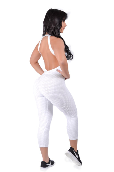 White Brazilian Jumpsuit Scrunchy Supplex