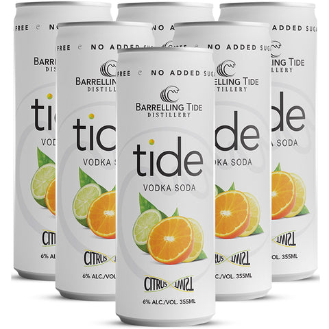Barrelling Tide Citrus Twist Vodka Soda 6 pack cans