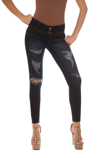 Jeans Skinny Azul Oscuro Talle Alto Cod: 4152