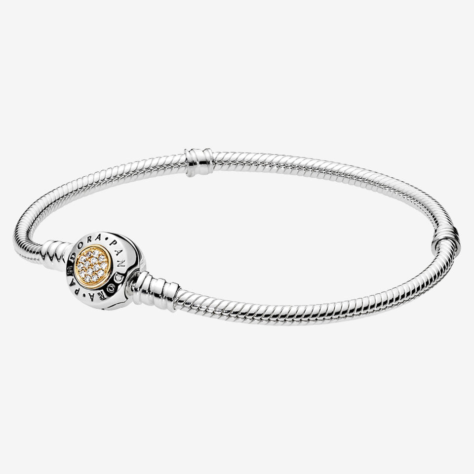 Pulsera Moments en plata de ley y oro Sello Logo
