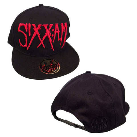 Red Logo and Face Snap Back Ball Cap
