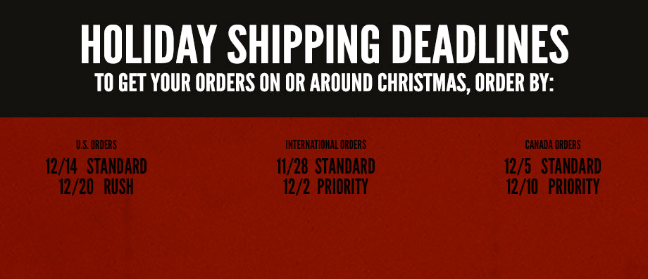 Shipping Deadlines for Sixx:A.M. Store