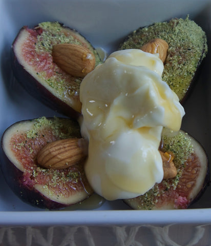 Figs With Charred Eggplant and Mascarpone Cream