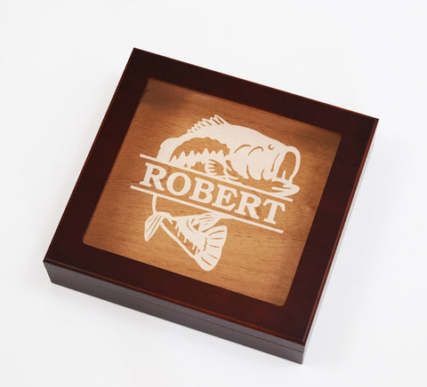 Custom Engraved Bass Fishing Cigar Box Humidor Fisherman Gift
