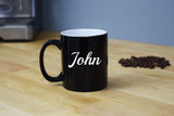 Engraved Etched Black Coffee Mug - Personalized Custom Customized