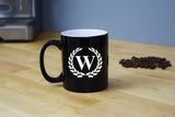 Engraved Etched Black Coffee Mug - Single Letter Initial Monogram Framed