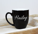 Engraved Etched Bistro Coffee Mug - Black Personalized Custom Name