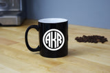 Monogrammed Coffee Mug - Engraved Etched Black Coffee Cup Circle Monogram