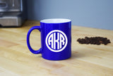 Monogrammed Coffee Mug - Engraved Blue Coffee Mug Circle Monogram