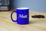 Engraved Etched Blue Coffee Mug - Personalized Custom Customized