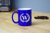 Engraved Etched Blue Coffee Mug - Single Letter Initial Monogram Framed