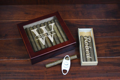 Custom Cigar Humidor Cigar Cutter Cigar Travel Case Engraved