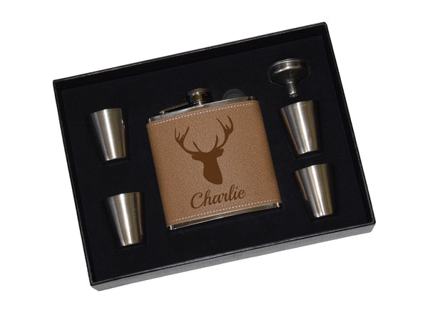 Deer Hunter Flask - Custom Leather Flask Gift Set With Shot Glasses And Funnel - Deer Buck Hunter Personalized