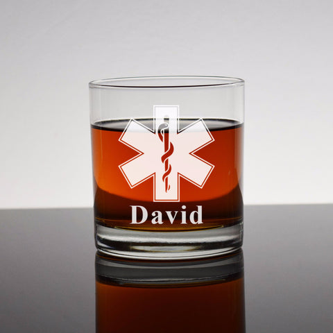 Star of Life Rocks Glass Engraved EMT Paramedic Bourbon Whiskey Personalized