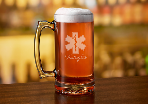 Star of Life Paramedic Beer Mug Gift - Engraved EMT Beer Stein Personalized