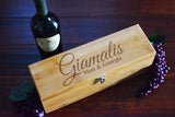 Custom Engraved Wood Burned Wine Box Tool Set Engagement Gift- Personalized Last Name Bamboo Wood