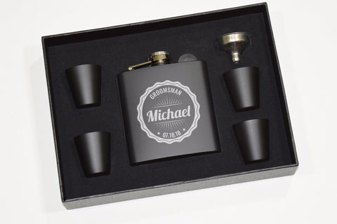 Etched Engraved Black Flask Gift Set With Shot Glasses and Funnel - Wedding Party Groomsman Groomsmen Usher Best Man Personalized Wedding Party Gifts