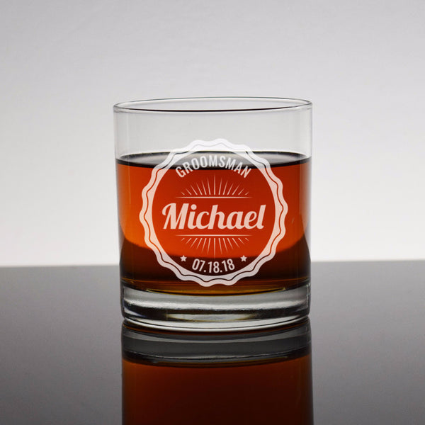 Etched Engraved Rocks Glass - Bourbon Whiskey Scotch Groomsman Groomsmen Wedding Party Gifts Favors