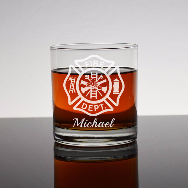 Custom Firefighter rocks glass whiskey liquor - Fireman Firefighter Firewoman St. Florian Cross