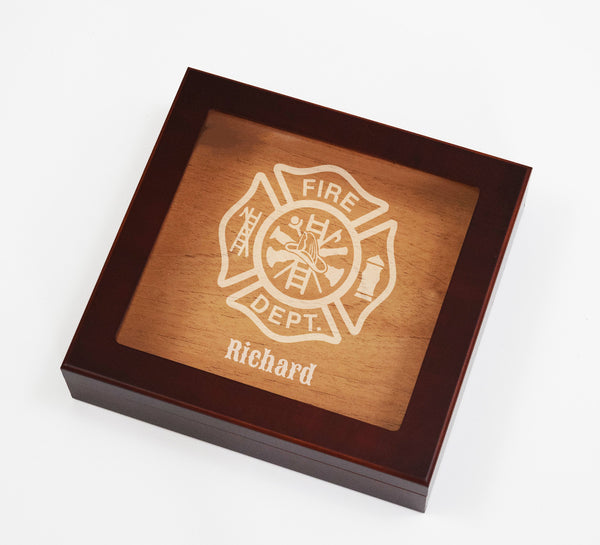 Custom Glass Top Firefighter Cigar Humidor - Personalized Custom Fireman Firewoman Firefighter Saint Florian