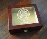 Custom Glass Top Firefighter Cigar Humidor - Personalized Custom Fireman Firewoman Firefighter Saint Florian Hygrometer