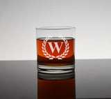 Custom Engraved Bourbon Whiskey Decanter Set With Rocks Glasses - Single Letter Initial Monogram Framed