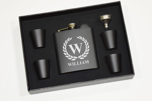 Custom Engraved Bourbon Whiskey Black Flask Gift Set - Single Letter Initial Monogram Framed