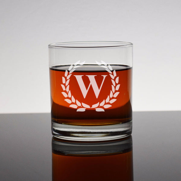 Custom Engraved Whiskey Bourbon Rocks Glass - Framed Initial Letter Monogram