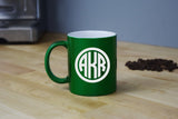 Monogrammed Coffee Mug - Engraved Green Coffee Mug Circle Monogram