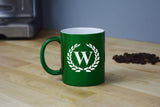 Engraved Etched Green Coffee Mug - Single Letter Initial Monogram Framed