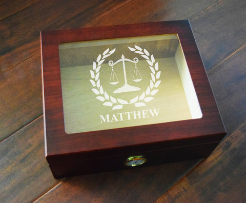 Custom Lawyer Cigar Box Humidor Spanish Cedar hygrometer