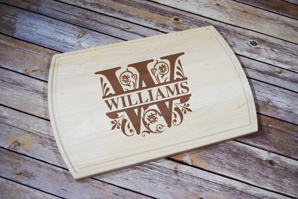 Engraved Etched Maple Cutting Board - Split Letter Last Name Personalized Initial Monogram