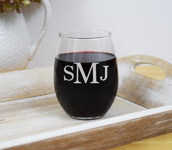 Monogram Wine Glass Engraved Personalized Custom Stemless