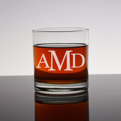 Custom Monogram Engraved Bourbon Whiskey Rocks Glass - 3 letter monogram