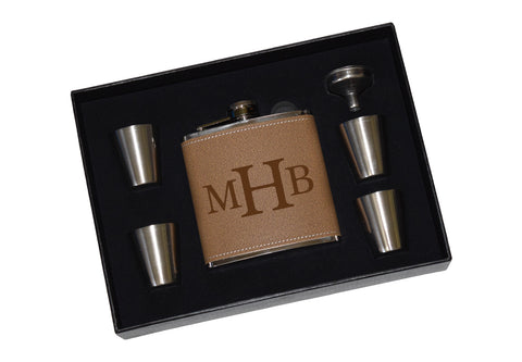 Custom Monogram Engraved Leather Flask Gift Set With Shot Glasses And Funnel - Monogram Personalized