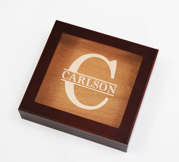 Custom Split Letter Monogram Engraved Cigar Humidor Box Cigar Aficionado Personalized Family Gifts
