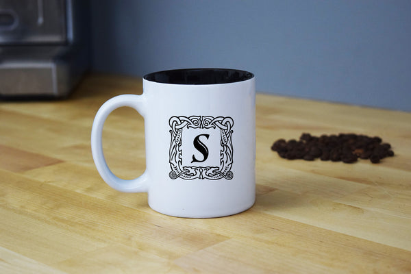 Custom Engraved Coffee Mug - Single Letter Initial Monogram