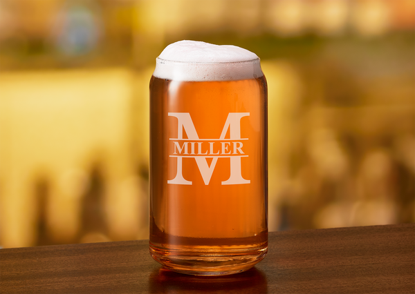 Custom Name Engraved Beer Can Glass - Marion Split Letter Monogram